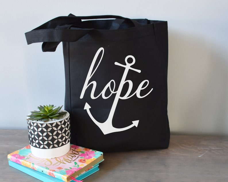 09ebe5f15d Hope Anchor Tote Bag Cotton Canvas Inspirational Tote