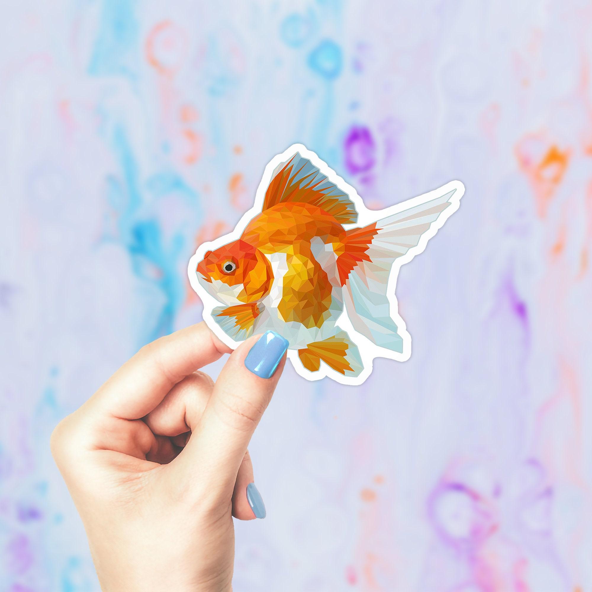 Ryukin Goldfish Sticker Cool Geometric Animal Stickers Fancy Goldfish Sticker Goldfish Decal Cute Notebook Stickers Fishkeeping