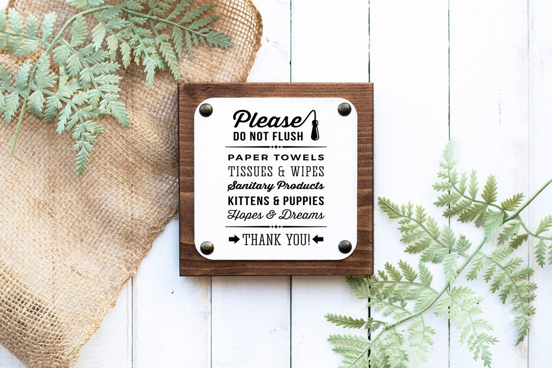 Farmhouse Do Not Flush paper towels Airbnb bathroom sign