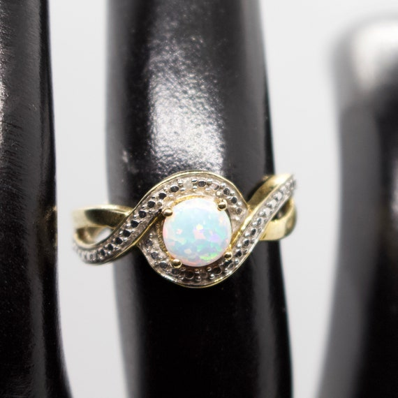 Opal Ring,Silver jewelry, Gold Ring, Two Tone Ring