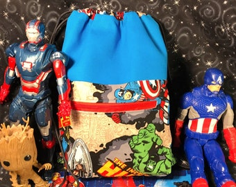 08bd9c080c01 Kids Marvel Avengers Drawstring Backpack - Cinch Bag - Spiderman - Thor -  Hulk - Captain America