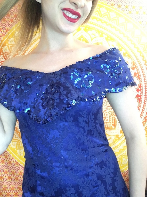 Blue Brocade Dress