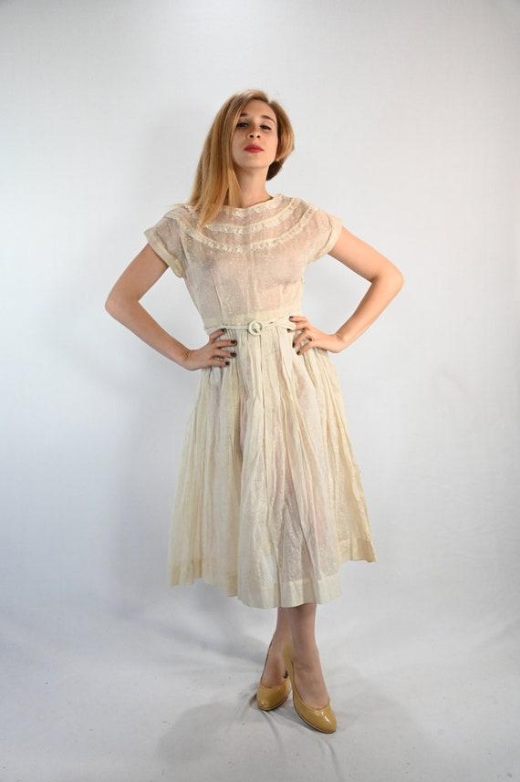 Off White 1950s Sheer Dress