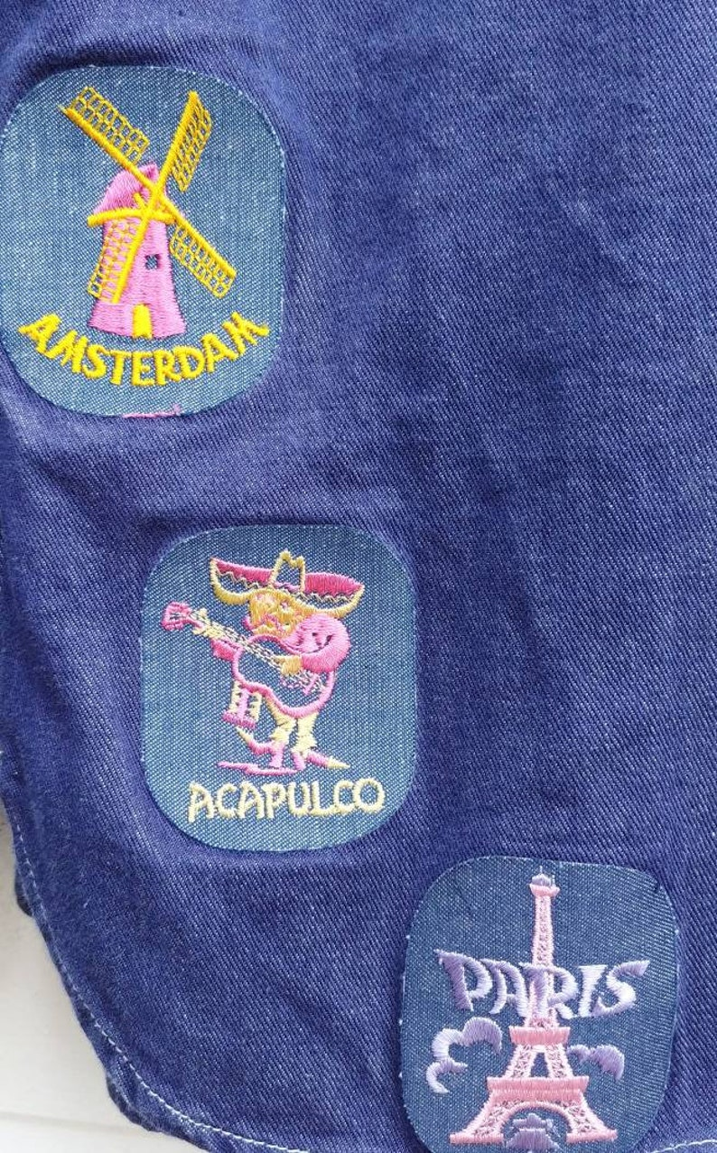 1970s Denim Travel Patch Snap Shirt Vintage 70s Button Down Collared Top Madrid Alcapulco Paris Amsterdam Monte Carlo Patches Medium