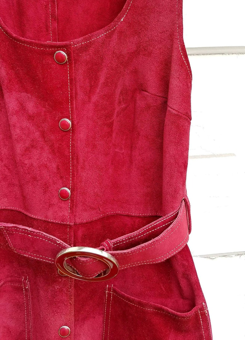 a6a13dab9b23b 1960s Burgundy Suede Mod Dress Vintage 60s Cranberry Red