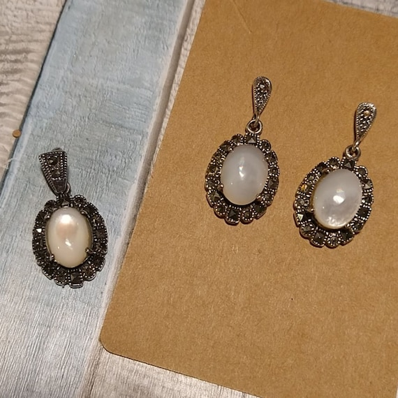 Vintage Mother of Pearl Marcasite Earring set