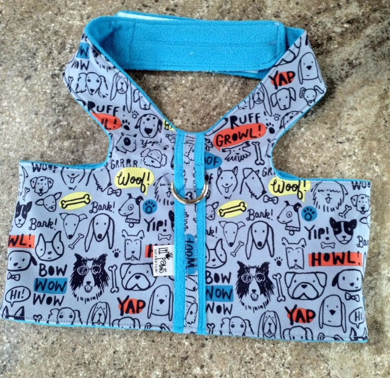 4XL Dog face printed harness with two layers of soft shell fleece Very warm  and weatherproof
