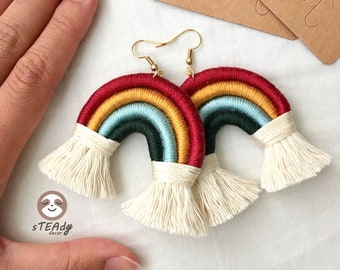 Large rainbow macrame earrings, cute dangle colourful jewelry, boho statement fringe earrings gift