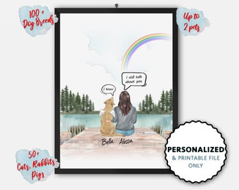 Personalized Dog Memorial Gift, Dog Mom, Dog Lover Gift, Custom Dog Portrait, They Still Talk About You, Digital Print