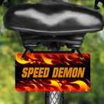 Fire design aluminum bicycle tag, bike license plate printed with name, great for kids