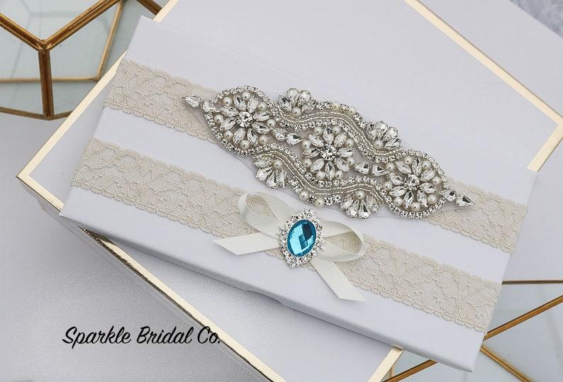Non slip garter Crystal Rhinestone Pearl garter belt Wedding Garter light ivory vintage garter Bridal Garter