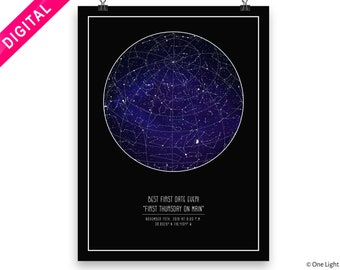 Constellation Map DIGITAL DOWNLOAD Star Chart Wall Poster