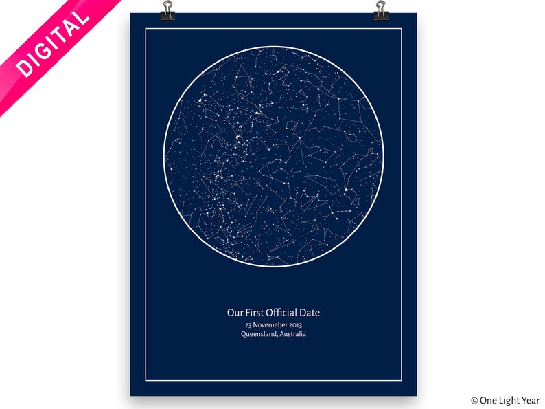 Star Chart Sky Map DOWNLOAD Bedroom Decor Unique Gift