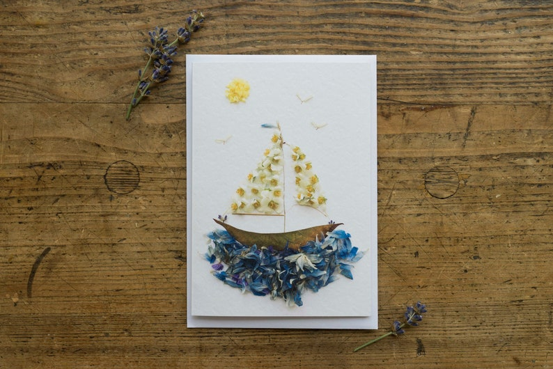 Greeting Card  Sailing Boat  Clap Card  Sailing  Blossoms image 0