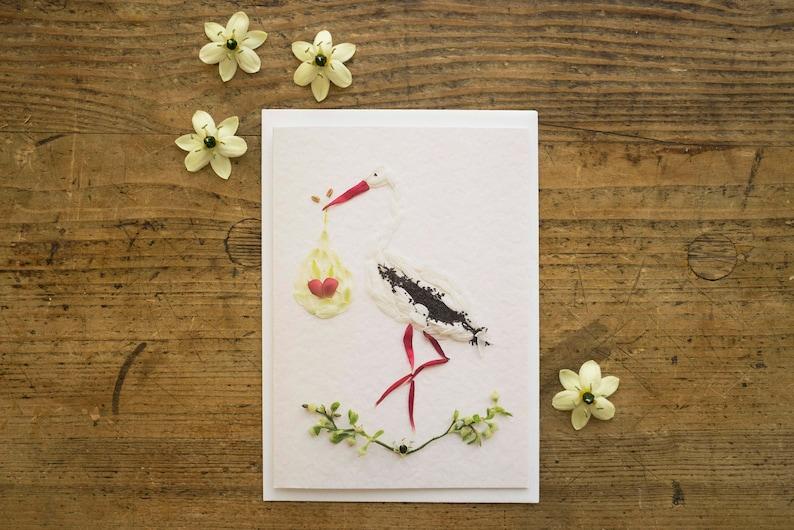 Greeting Card to Birth  Floral Rattlesnake Stork  Birth  image 0