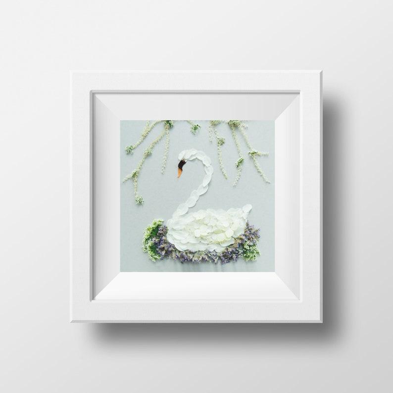 Swan  Print  Blossom Art  Children's Room Print  Gift image 0