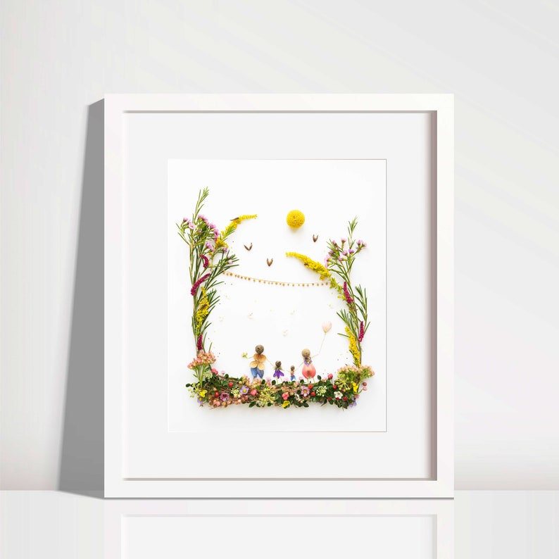 Family picture  mother father children  print  nursery image 0