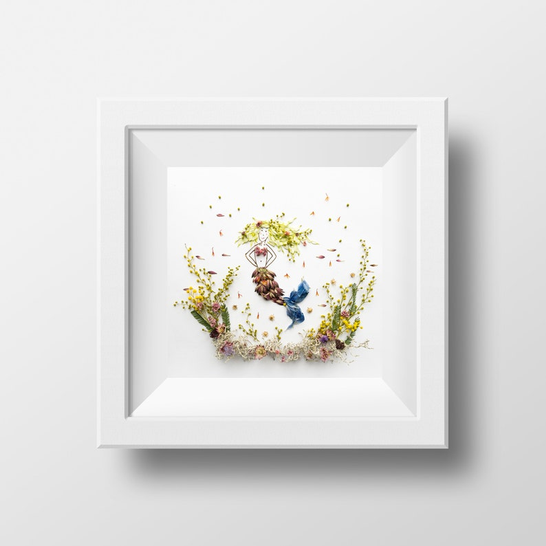 Mermaid  Print  Blossom Art  Children's Room Print  image 0