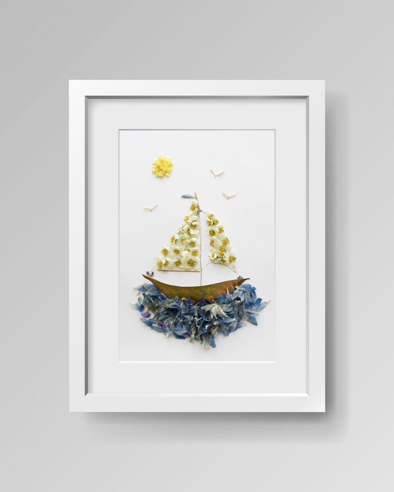 Sailboat  Print  Flower Picture  Wall Decor  Gift Idea  image 0