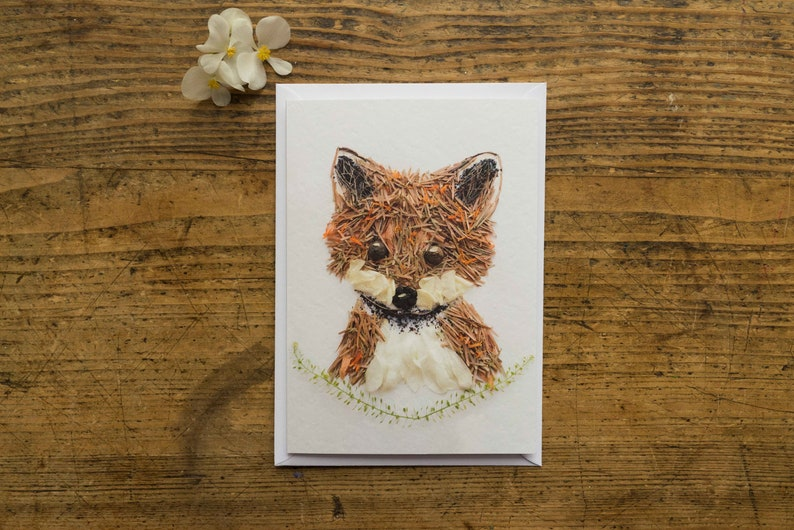 Greeting Card  Folding Card  Fox  Flowers  Blossoms  image 0