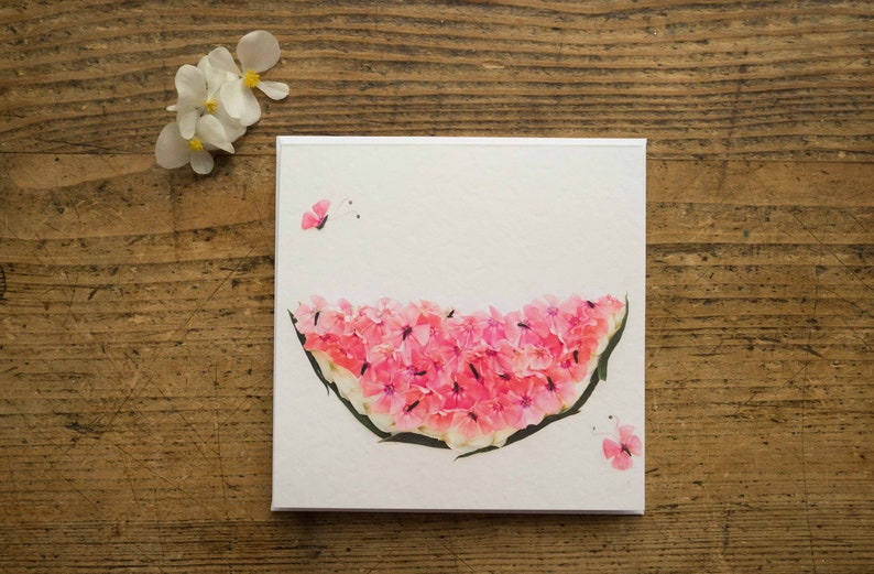 Card  melon  Watermelon  Folding card  flowers  floral  image 0