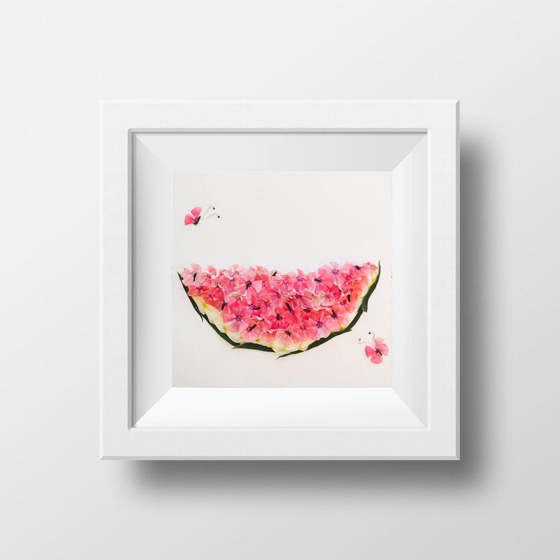 Melon  Print  Blossom Art  Watermelon  Poster  Wall Deco image 0