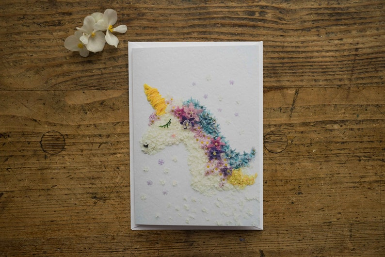 Greeting Card  Unicorn  Folding Card  Flowers  Blossoms  image 0