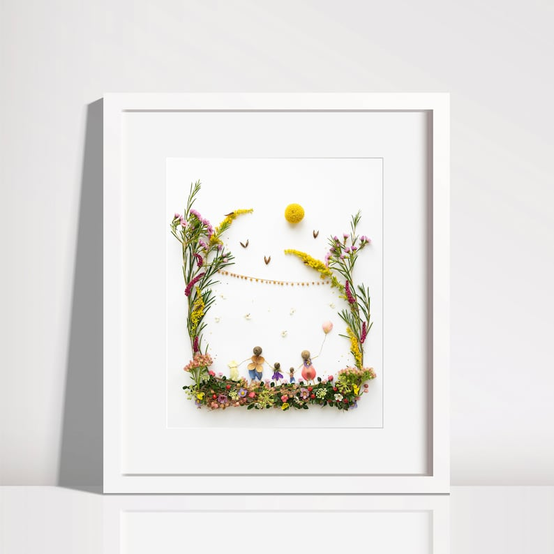 Family picture with dog  print  nursery print  nursery  image 0