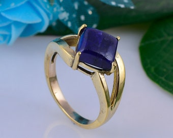 natural Lapis gemstone cabochon handmade ring brass ring Lapis ring unique ring statement ring
