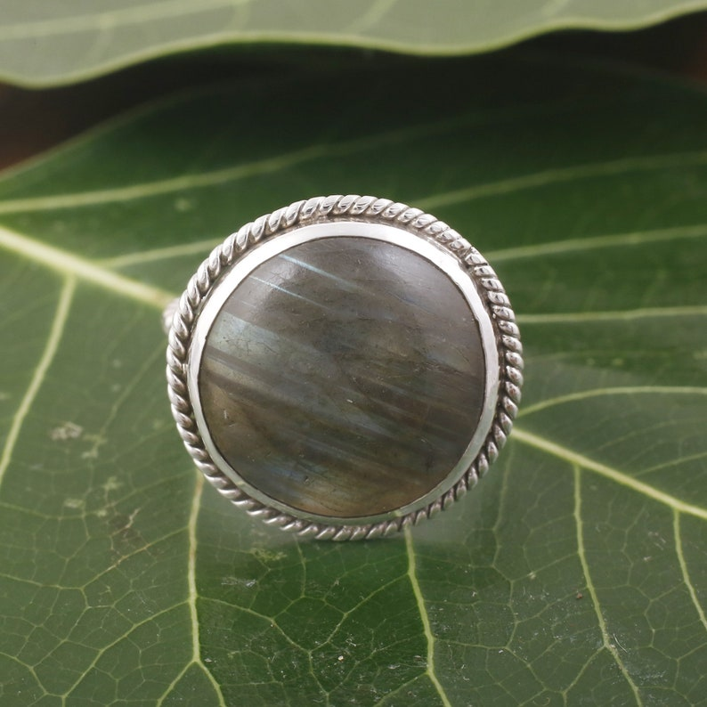 Rainbow Labradorite Round Ring ~ Gemstone ~ Natural ~Sterling Silver 925 ~ Jewelry ~ Handmade~February Birthstone ~Statement ~Gift ring