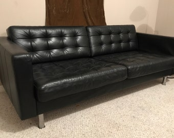 Florence Knoll Style Black Leather Sofa leather sofa | Etsy