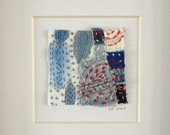 Sashiko Square Textile Art (red circle) 1/1