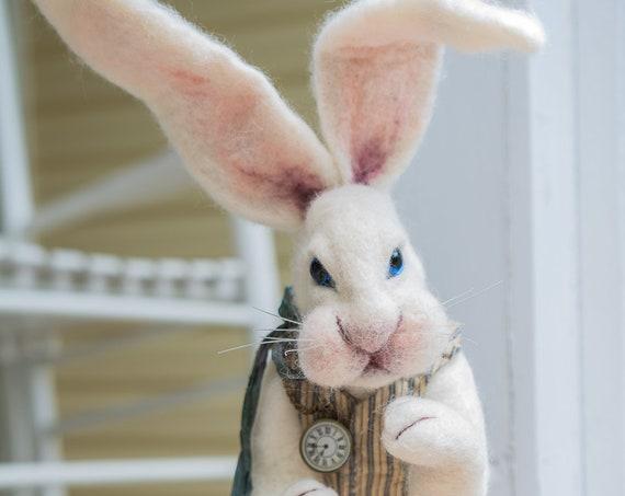 Rabbit,Felted Rabbit, Nursery Art,Bunny Rabbit, Hare ,Bunny Felted Bunny,Needle Felted Animal ,Art Doll, Nursery Gift,Felted Hare, Nursery
