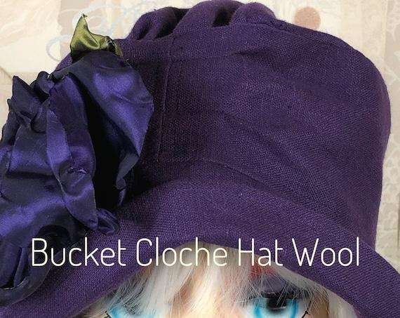 Purple Linen Hat,1920's Fashion, Vintage Cloche Hat,Custom Bucket Hat,Custom Hat,Ladies Cloche Hat,1920's Head Ware,Ladies Cloche Hat,Linen