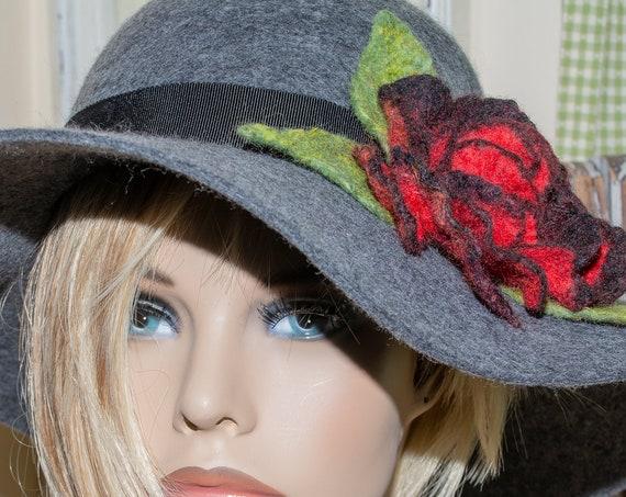 felt hat, large brim hat, womens  hat, boho felt hat, boho large brim hat, floppy hat, wide brim felt hat, wide brim, Black Hat