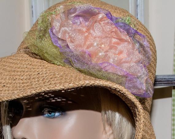 Handmade, Shabby Chic , Floppy,  Straw, Sun Hat,  Wide Brim and summer hat, floppy hat, staw hat, woman hat,