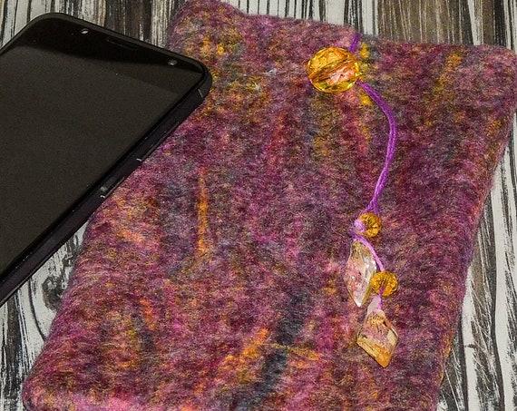 Eyeglasses/large Cell Phone Felted Wool Felt Soft Case Felt Art Handmade Bohemian