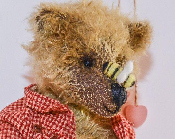 Teddy Bear,Teddy,OOAK,Collectible toy bear,Teddy, Nursery gift,nursery decor, Vintage,Handmade,Mohair,nursery art, OOAK,Teddy, Bear, Gift