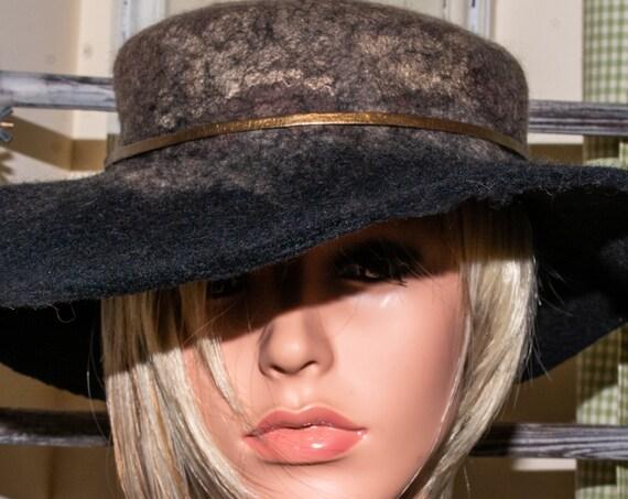Wool Felt Hat,Black Hat,Felted Wool Hat,Western, Floppy Hat, wool hat,Felted Hat,warm hat,winter hat, bohemian hat, wool, fedora,chic