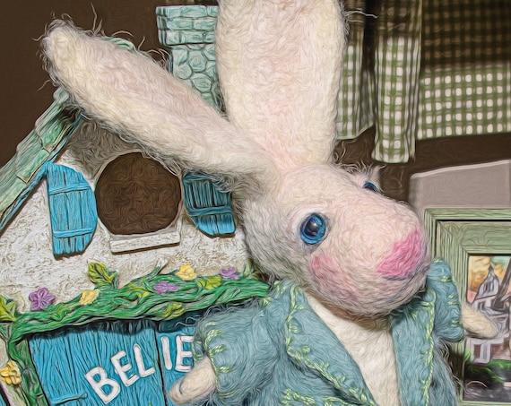 bunny rabbit ,White Rabbit ,Bunny, felted animal, Hare ,Art Doll, Rabbit, White ,nursery decor ,Baby Shower Gift, Nursery, WoolRabbit ,