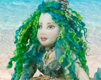 Serena Keeper of Starfish,OOAK Cloth Jointed Doll,Pose-able Art Doll,OOAK Doll,Home Decor Doll,Mermaid, Fine Art Doll Boudoir,Gift for mom