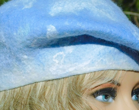 Beret, Felted Wool,wool hat ,Embroidery,Slouchy Beret,Felted Wool Beret,Felt Beret,Handmade Beret, French Beret, Woman Beret, Warm Hat, Felt