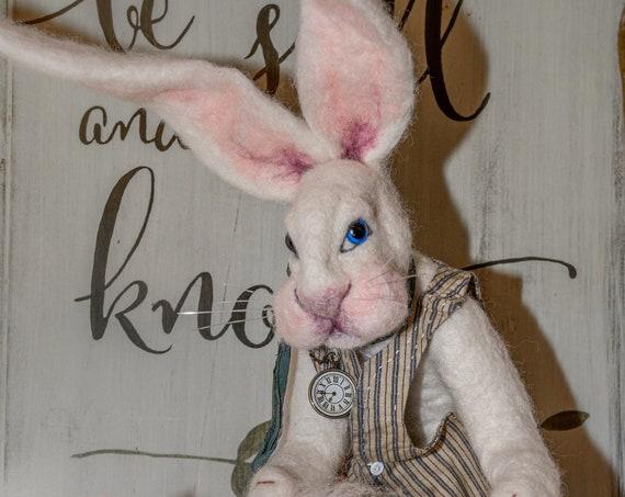 Bunny,Gift,Art,Nursery Decor,Original Art,Home Decor,Decor, Housewarming,Home,Farm House Decor ,Art Doll, Nursery Gift,Felted Hare, Nursery