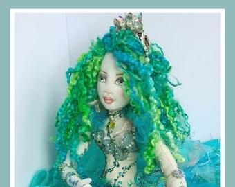 Mermaid Nautical Green Art Doll,Beautiful Handmade Puppet,Cute Gift,Intricate Textile Doll,Personalized Housewarming Gift,Whimsical Creative