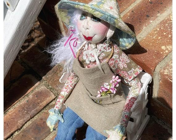 Greta The Gardener,OOAK Cloth Jointed Doll,Pose-able Art Doll,OOAK Doll,Home Decor Doll,OOAK Art Doll Fine Art Doll Boudoir,Gift for mom