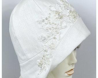 1920s Wedding Hat -White Cloche Hat - Boho Wedding - Vintage Bride- 1920s Fashion -Woman's Wedding Hat - Vintage Wedding -Wedding Cloche Hat