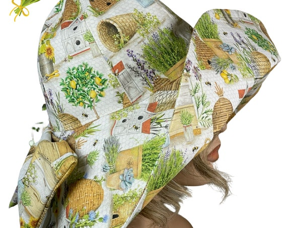 White Harvest Wide Brimmed Sun Hat,1920s Style Headware, Boho Style Hat, Woman's Fashion,Ladies Hats,Garden Theme Flower Hat,Bespoke Hat