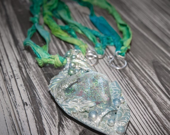 necklace, pendant, jewelry, polymer clay, sari silk ,gift, gift for her, gift for sister, bohemian necklace, mystic jewelry, clay, glass