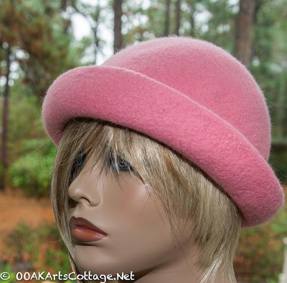 Hat,FeltedHat ,Pink Hat,Felted Hat,Wedding,Hat ,Felted Wool Hat,Knit Hat,Pink,Handmade,Woman's Hat, Black hat, Downton Abbey,Hat,Derby Hat