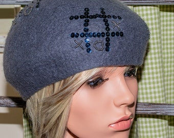 1ddb64148bb43 Beret Merino Gray Felted Wool with Sequins and Beads Handmade Retro